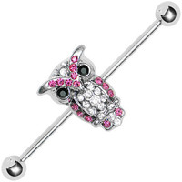 Gem Paved Owl Industrial Barbell | Body Candy Body Jewelry