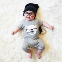 2017summer baby clothes short sleeve baby romper unisex baby clothing newborn clothes cartoon Bear jumpsuit baby costume Outfits