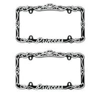 2 Pack Silver and Black Princess Crystal Rhinestone Stainless Steel License Plate Frame