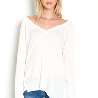 V Neck Long Sleeve Contrast Knit Top - LoveCulture