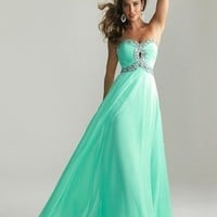 A-line Sweetheart Floor Length Prom Dress with Rhinestones