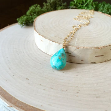 Beautiful, Sleeping Beauty Turquoise Briolette in 14k Gold Fill with Dainty Chain, Layering Necklace, Simple, Turquoise Necklace, Gemstone