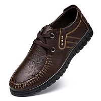 New Design Men Leather Shoes Cow Leather Men Oxfords Black Brown Casual Zapatos Hombres Lace-up Men Leather Shoes