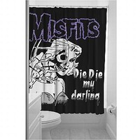 Misfits Die Die My Darling Shower Curtain | Rock and Roll Decor at Sin in Linen
