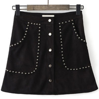 Single Breasted Studded A-Line Skirt