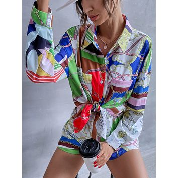 Chain Print Pocket Patched Blouse With Shorts