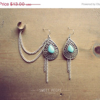 Summer Sale Turquoise Drop with Chain Ear Cuff, Bold Earring Cuff, Ear Cuff with Chain