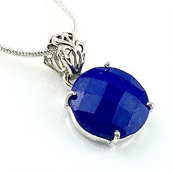 Sapphire Sterling Silver Faceted Round Pendant