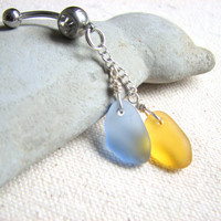 Yellow and Blue Glass Belly Button Jewelry - Recycled Glass Sea Glass, Chain Dangle Bellybutton RIng, Belly Piecing  Belly Button Ring