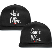 she's mine he's mine couple matching snapback cap