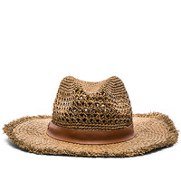 Raffia Cane Weave Continental Hat in Tobacco & Tobacco Leather