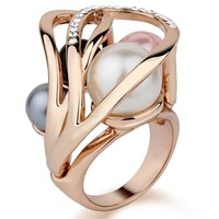 $ 22.29 Amazing Gold Plated Double Pearl Lady's Ring