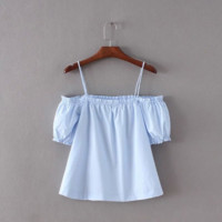 Season poster solid color strapless strap tops B0015552