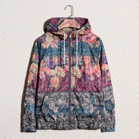 Men's Comfortable Lightweight Zip up Floral Print Jacket with Hood