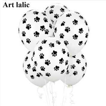 "20 Party Supplies 12"" Patrolling Dog Paws Party Balloons Latex Balloons Birthday Party Balloon Decoration Toys Paw Print"
