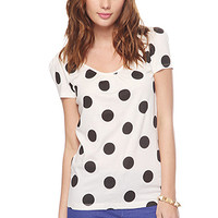 FOREVER 21 Dotted Bow Back Tee