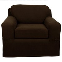 Maytex Pixel Stretch 2-Piece Slipcover Chair, Chocolate