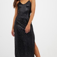 Petite Black Side Split Sequin Maxi Dress