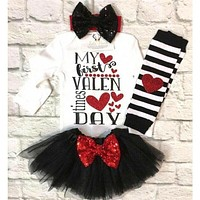 My First Valentine's Day Kid Baby Girl Outfit Clothes Romper Tops Skirt Dress US