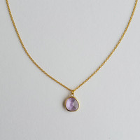Boho Chic Necklace Teardrop Crystal Amethyst Pendant,Delicate Gold Plated Chain,Sign Aquarius,Month February, Bridesmaid,Elegance, Exclusive