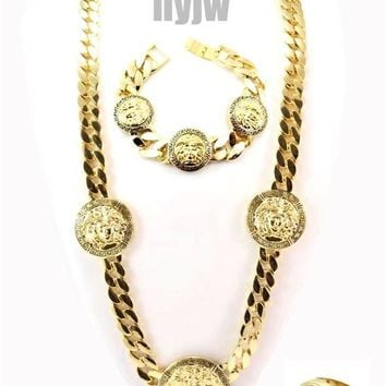 "HIP HOP MEDUSA 3 MEDALLION 30"" CUBAN LINK CHAIN, BRACELET, RING SET KMC002-AG"