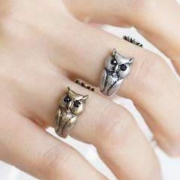 Owl Adjustable Animal Wrap Ring for Women or Teen