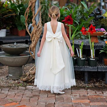 Ivory Lace Big Bow & Tulle Lucinda Gown Dress