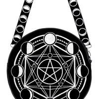Moon Phases and Pentacle Witchcraft Moon Magic Round Gothic Messenger Bag