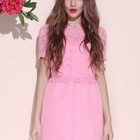 Pink Floral Lace Short Sleeve Dress