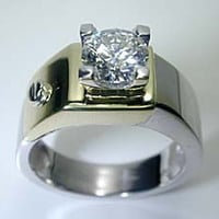 1.02ct Round Diamond Men's Ring 14kt White & Yellow Gold JEWELFORME BLUE not blue nile