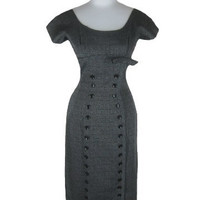 Vintage 50s 60s Grey Flecked PINUP Wiggle Party Dress S