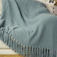 "BNF Home Knitted Tweed Throw Couch Cover Blanket, 50 by 60"", Silver Blue"