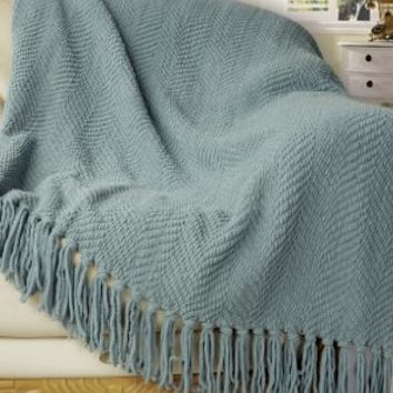 """BNF Home Knitted Tweed Throw Couch Cover Blanket, 50 by 60"""", Silver Blue"""