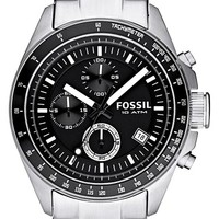 Men's Fossil Chronograph Tachymeter Watch, 44mm - Black / Silver