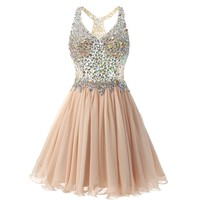 Sexy A Line Champange Rhinestones Cocktail Homecoming Dresses with Straps