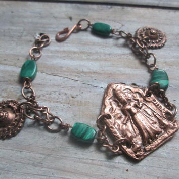 Indian Goddess, Copper Bracelet, Malachite, Recycled Metal. Copper Clay, Charm bracelet, Tribal Copper, Eco-Friendly,  Anklet, Green Stone
