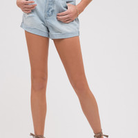 Distressed Light Wash Cuffed Denim Shorts