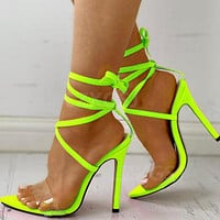 2020 summer new Bandage High heel Fine heel lace up Fluorescent green