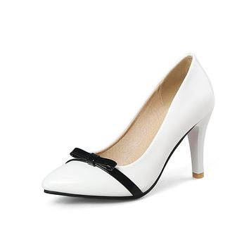 Pointed Toe Bowtie Pumps High Heels for Women 5935