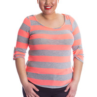 Plus Size Striped High Low Top