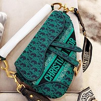 Dior New fashion more letter shoulder bag crossbody bag saddle bag Green