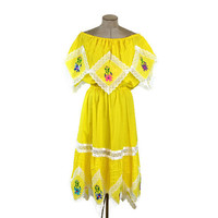 70's Vintage Mexican Dress Traditional Off The Shoulder Handkerchief Pixie Hem Embroidered Flowers and Lace Boho Handmade