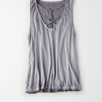 AEO Soft & Sexy Strappy Front Tank, Washed Black