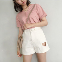 High Waist A Line Side Heart Shape Cutout Crop Shorts