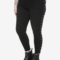 NEW! Blackheart Faded Black Silver Hook Skinny Jeans Plus Size