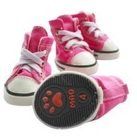 Hot Pink/Dark Blue Puppy Pet Dog Denim Shoes Sport Casual Anti-slip Boots Sneaker Shoes 4PCS [8789875911]