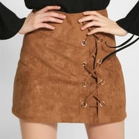 Fashion High Waist Crisscross Strappy Flannel Skirt