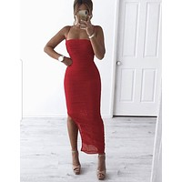 Forna Red Mesh Maxi Dress CLEARANCE SIZE L