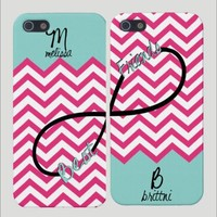 Best Friends Infinity Pink Chevron Phone Cases (Two Case Set)