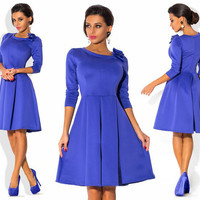 High-end fashion atmosphere Autumn Solid Women DressThree Quarter Sleeve O-neck with Bow Women Casual Knee Dresses S-2XL